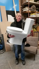 This is a lightweight toilet made for a tv commercial. Made light so that the actor could carry it easily.