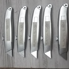 Craft Knives with a variety of safer blades, one is blunted and others are made out of plasticard and soft craft foam
